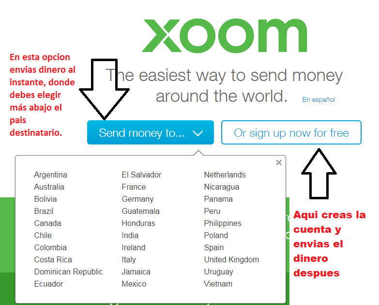 crear cuenta en xoom